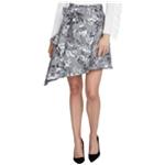 Rachel Roy Womens Bailen Plaid Floral Asymmetrical Skirt
