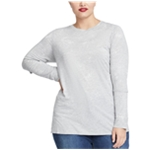 Rachel Roy Womens Foil Print Slit Sleeve Basic T-Shirt