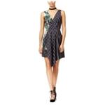 Rachel Roy Womens Fit & Flare Floral Stripe Asymmetrical
