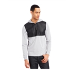 Kenneth Cole Mens Faux-Leather Hoodie Sweatshirt