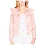 Rachel Roy Womens Ruffled Embroidered Blazer Jacket