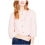 Rachel Roy Womens Cropped Tweed Four Button Blazer Jacket