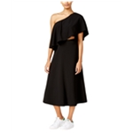 Rachel Roy Womens Flounce Midi One Shoulder Dress