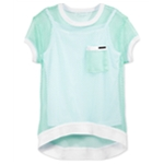 Sean John Girls Layered Mesh Embellished T-Shirt