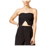 In Awe Of You Womens Pinstriped Strapless Halter
