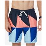 Nautica Mens Triangular Colorblock Swim Bottom Trunks