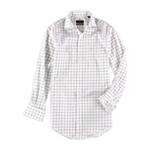 Tasso Elba Mens Non-Iron Checked Button Up Dress Shirt