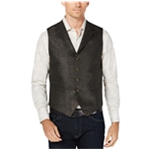 Tallia Mens Slim Fit Black Metallic Five Button Vest