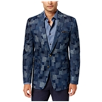 Tallia Mens Patchwork Two Button Blazer Jacket