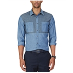 Nautica Mens Colorblocked Chambray Button Up Shirt