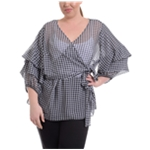 NY Collection Womens Gingham-Print Wrap Blouse