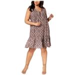 Notations Womens Geo-Print Lace-Up Midi Peasant Dress