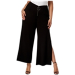 NY Collection Womens Zip-Front Casual Wide Leg Pants