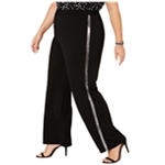 NY Collection Womens Metallic-Strip Casual Trouser Pants