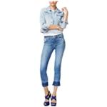 Hudson Womens Raw-Hem Cropped Jeans
