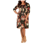 NY Collection Womens Floral Pleated Dress