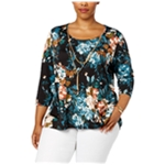 NY Collection Womens Floral Knit Blouse