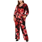 NY Collection Womens Floral Jumpsuit