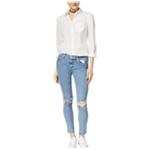 Hudson Womens Ripped Raw-hem Skinny Fit Jeans