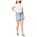 Hudson Womens Front Yoke Raw Hem Denim Skirt