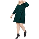 NY Collection Womens Faux Wrap Fit & Flare Sweater Dress