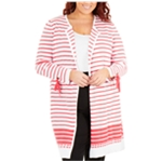 NY Collection Womens Cotton Tie Cardigan Sweater