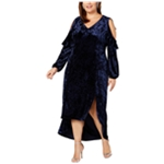 NY Collection Womens Crushed Velvet Cold Shoulder Dress