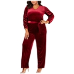 NY Collection Womens Velvet Jumpsuit