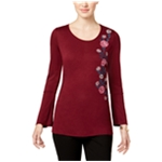 NY Collection Womens Embroidered Pullover Blouse