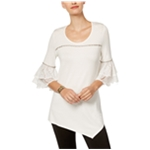 NY Collection Womens Lace Cuff Pullover Blouse