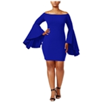 Soprano Womens Bell-Sleeve Cocktail Off-Shoulder Dress