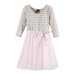 Pink & Violet Girls Striped Tutu A-line Dress