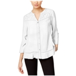 NY Collection Womens Lace Trim Button Up Shirt