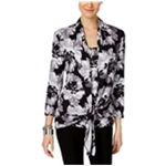 NY Collection Womens Layered-Look Knit Blouse