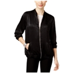 NY Collection Womens Textured Satin Bomber Jacket
