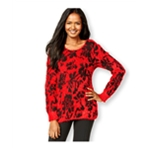 NY Collection Womens Florl-Print Eyelash Pullover Sweater