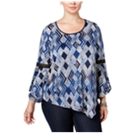 NY Collection Womens Ruffled Bell-Sleeve Pullover Blouse