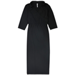 NY Collection Womens Faux-Wrap Maxi Dress