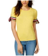 Maison Jules Womens Striped Ribbon Basic T-Shirt