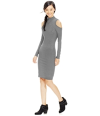 Material Girl Womens Cold-Shoulder Rib Knit Bodycon Dress