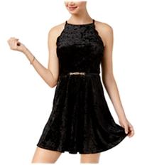 Bcx Womens Belted Velvet Fit & Flare Dress