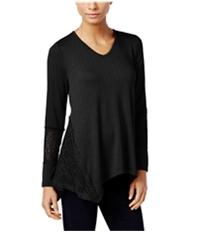 Style & Co. Womens Lace-Panel Basic T-Shirt
