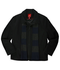 Izod Mens Wool Blend Coat & Scarf Set Pea Coat