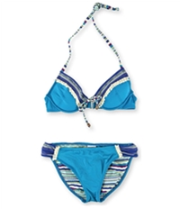 Lucky Brand Womens Tassel Push Up Side Tab 2 Piece Bikini