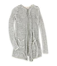 Maison Jules Womens Striped Crochet Cardigan Sweater