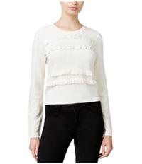 Maison Jules Womens Ruffled Knit Sweater