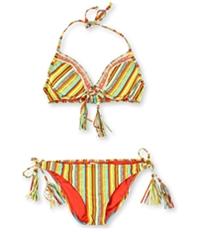 Lucky Brand Womens Striped Crochet Side Tie 2 Piece Tankini