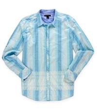 I-N-C Mens Tropical Grid Button Up Shirt