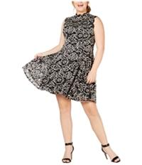 City Studio Womens Lace Overlay A-Line Flounce Dress