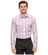 Calvin Klein Mens Slub Ombre Plaid Button Up Shirt